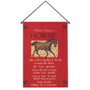 "Crimson Red ""Advice from A Horse"" Wall Art Hanging Tapestry 43cm x 70cm"