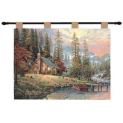"Thomas Kinkade ""Peace Retreat"" Pictorial Wall Art Hanging Tapestry 70cm x 90cm"