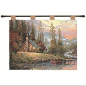 "Thomas Kinkade ""Peace Retreat"" Pictorial Religious Verse Wall Art Hanging Tapestry 70cm x 90cm"