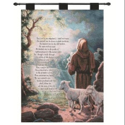 "Judy Gibson ""The Lord is My Shepard"" Prayer Religious Verse Pictorial Wall Art Hanging Tapestry 70cm X 90cm"
