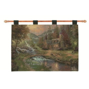 "Thomas Kinkade ""Cabin in the Country"" Religious Verse Pictorial Wall Art Hanging Tapestry 70cm x 90cm"