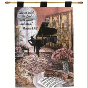 "Lena Liu ""Mother's Music Room"" Pictorial Religious Verse Wall Art Hanging Tapestry 70cm x 90cm"