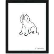 Personal-Prints Beagle Dog Line Drawing Framed Art