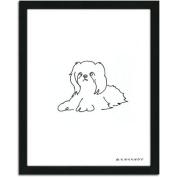 Personal-Prints Shih Tzu Dog Line Drawing Framed Art
