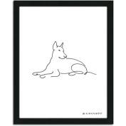 Personal-Prints Doberman Dog Line Drawing Framed Art