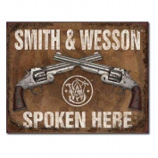 Smith & Wesson Spoken Here Metal Tin Sign 41cm w X 32cm h Multi-Coloured