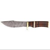 Szco Supplies Leather Stacked Damascus Bowie Knife Multi-Coloured