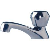 Scandvik 10050 Chrome Plated Brass Heavy-Duty Cold Water Basin Tap, Standard Knob