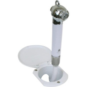 Scandvik 12106 Recessed Push-Button Transom Shower with White Handle, Cup, Cap and 1.8m White Hose