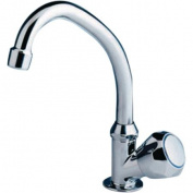 Scandvik 10172 Chrome Plated Brass Standard Cold Water Tap with Swivel Spout and Standard Knob