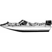Carver Styled-To-Fit Boat Cover for Fish and Ski Style Boats with Walk Thru Windshield