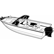 Carver Styled-To-Fit Boat Cover for Aluminium V-Hull Fishing Boats with Walk-Thru Windshield, Wide Series
