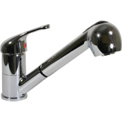 Scandvik 10871 Single Lever Galley Faucet with Pull-Out Sprayer, 1.5m Chrome-Flex Hose