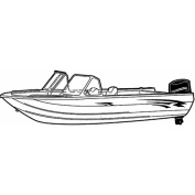 Carver Styled-To-Fit Boat Cover for Aluminium Fishing Boats with High Windshield Mounted Forward, Extra Wide Series