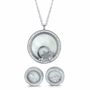 Round Earrings and Pendant Stainless Steel Jewellery Set with Floating Crystals Silver-Tone