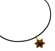 Antiqued Brass Classic Star of David Pendant on Rawhide