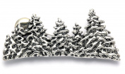 Sterling Silver Snow Covered Pine Tree Forest with Rising Sun Pin