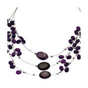 Lilith Silver tone Purple Choker Necklace