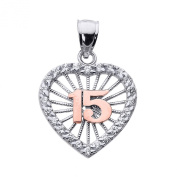 14k Two-Tone Gold Sweet 15 Años Quinceanera Pendant with Cubic Zirconia Heart