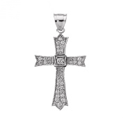 14k White Gold and Diamond fine Cross Pendant