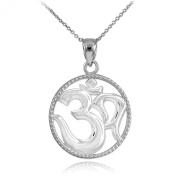 14k White Gold Round Milgrain-Edged Yoga Medallion Om Charm Pendant Necklace