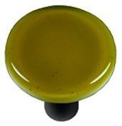 Hot Knobs HK1014-KRB Chartreuse Round Glass Cabinet Knob - Black Post