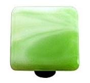 Hot Knobs HK2004-KB Swirl Light Green Square Glass Cabinet Knob - Black Post