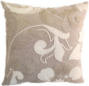 Indias Heritage C844 Hand Embroidered Pillow Natural