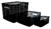 Advantus Plastic Weave Bin Black Pack - 3