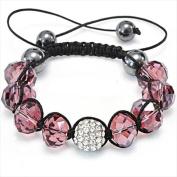 Best Desu 17081 Shambala-Style Crystal Bracelet Light Smoked Topaz