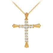 Fine Jewellery Vault UBNPD30253AGVYCZ April Birthstone Cubic Zirconia Cross Pendant in 18K Yellow Gold Vermeil