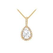 Fine Jewellery Vault UBNPD31479Y14PR75CZ Fancy Teardrop Cubic Zirconia Halo Pendant in 14K Yellow Gold 1.50 CT TGW
