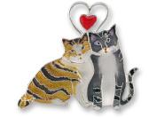 Zarah 26-01-Z2 Love Kitties Ultrafine Silver Plate Pin