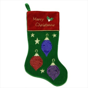 NorthLight 50cm . Green And Red Velvet Christmas Ornament Applique Stocking With Metallic Cord