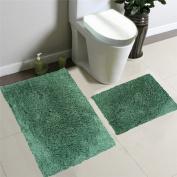 2pcs Solid Microfiber Shaggy Furry Bathroom Bath Mat Set Rug Pile Rubber Golden Linens