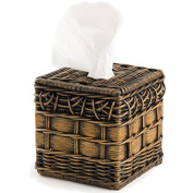 The Basket Lady Wicker Boutique Tissue Box Cover One Size Antique Walnut Brown