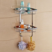 Solid Brass Products Wall Mounted Corner Triangle Shower Wire Basket 2 Tiers Shower Caddies Storage Cosmetic Holder Bathroom Hardware