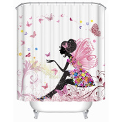 Uphome 180cm X 180cm Trendy Pink Flower Fairy Girl with Butterfly Bathroom Curtain Ideas-White Background Heavy-duty Fabric Shower Curtains