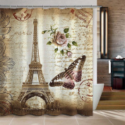 Uphome 180cm X 180cm Retro Vintage Paris Eiffel Tower Waterproof Kids Bathroom Shower Curtain - Butterfly and Flower Pale Brown Polyester Fabric Bathroom Accessories Home Decoration