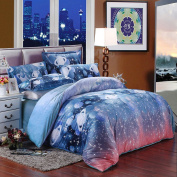 SAYM Home Bedding Sets Quilt Cover Galaxy Duvet Cover Galaxy Sheets Space Sheets Outer Space Bedding Set with 2 Matching Pillow Covers, Super Soft Coral Velvet Bedding Sets 100% Velvet Material,Queen