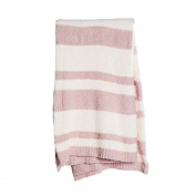 BarefootDreams Cozychic Baja Blanket - Dusty Rose / Cream
