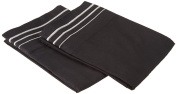 LUXOR TREASURES Super Soft Light Weight, 100% Brushed Microfiber, Standard, Wrinkle Resistant, 2-Piece Pillowcase Set, Black with Grey 3-Line Embroidery Detail
