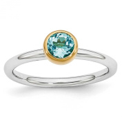Sterling Silver Stackable Expressions w/ Gold Plate Blue Topaz December Birthstone Ring