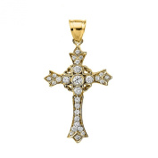 14k Yellow Gold and Diamond fine Cross Pendant surrounded with hearts
