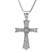 14k White Gold and Diamond fine Cross Pendant Necklace