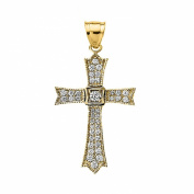 14k Yellow Gold and Diamond fine Cross Pendant