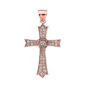 14k Rose Gold and Diamond fine Cross Pendant