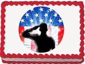 Saluting Soldier Round Edible Cake Topper