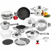 26pc 12-element Heavy-gauge Non-stick Stainless Steel Cookware Set