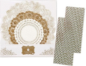 Talking Tables Gold and White Metallic and Floral Doilies - 25 Pack and Outside the Box Papers Damask Paper Straws -50 Pack